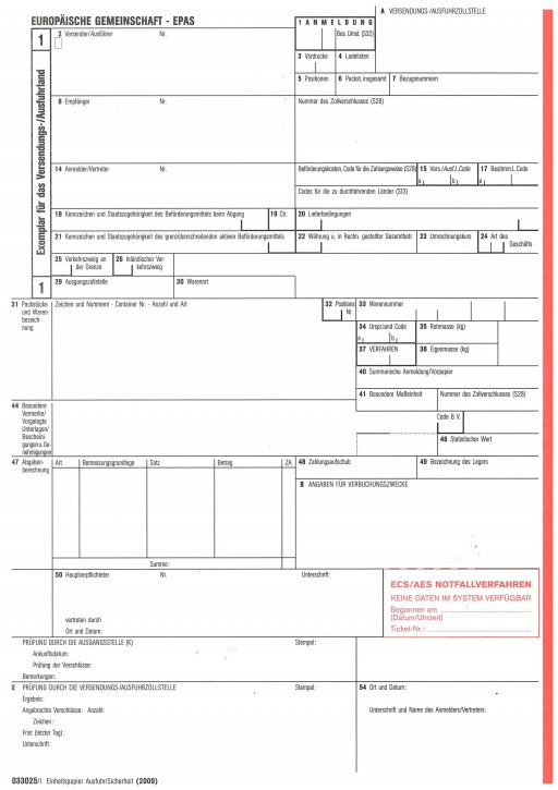 Ausfuhr/Sicherheit - EPAS 2009 lose zusammengetragen für Laserdrucker, 3-fach, 033025, VPE 50 Satz