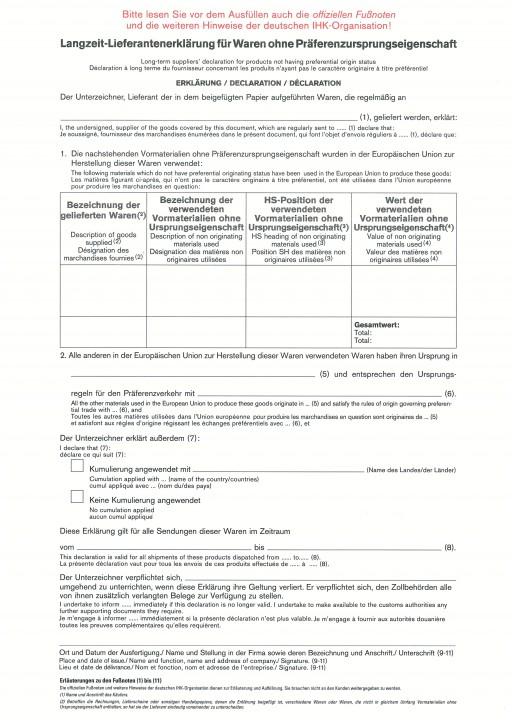 Lieferantenerklärung, Langzeiterklärung für Waren ohne Präferenzursprungseigenschaft, VPE 100 Stück