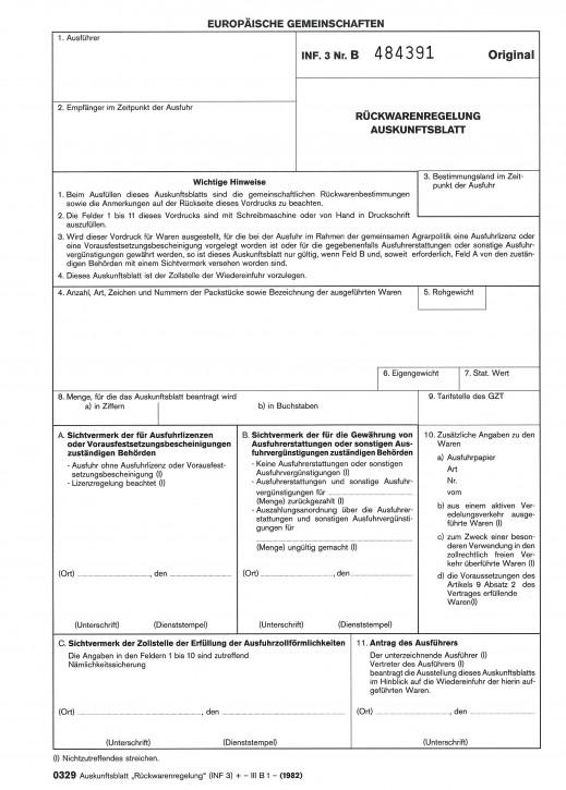 """Auskunftsblatt """"Rückwarenregelung"""" (INF 3) 3-fach Trennsatz, VPE 50 Satz"""