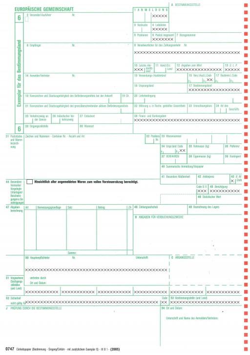 Einheitspapier Bestimmung (Eingang/Einfuhr) + Blatt 6 als Einfuhrkontrollmeldung, 4-fach selbstdurchschreibend, Blatt 6,7,8,6 - ( 0747), VPE 50 Satz