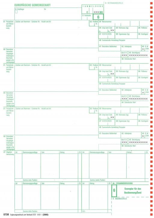 Einheitspapier Ergänzungsvordruck zu 0737, 3-fach selbstdurchschreibend, Blatt 6,7,8 (0738), VPE 50 Satz