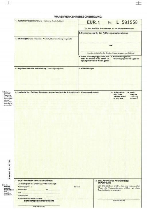 Warenverkehrsbescheinigung EUR.1 2-fach, selbstdurchschreibend, Trennsatz, VPE 50 Satz