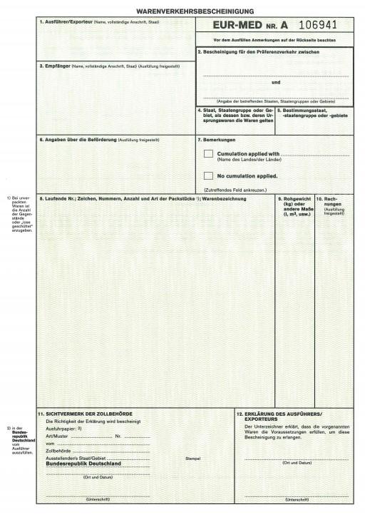 Warenverkehrsbescheinigung EUR-MED, 2-fach mit Kohlepapier Schnelltrennsatz (890), VPE 50 Satz