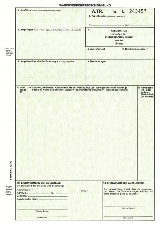 Warenverkehrsbescheinigung für die Türkei 2-fach, für Laserdrucker, A.TR, VPE 50 Satz