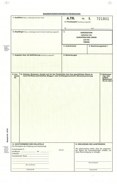 Warenverkehrsbescheinigung für die Türkei 2-fach, selbstdurchschreibend, A.TR, VPE 50 Satz