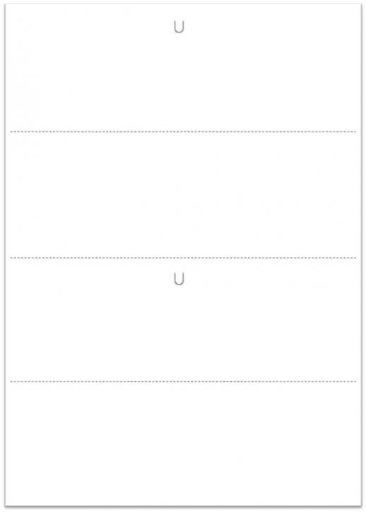 Warenanhänger VDA - Blanko, 21 x 29,7 cm (2 x A5) 150g Offsetkarton weiß 3 x querperforiert, 2 x U-Stanzung (Daumenlasche) 500 Blatt = 1.000 Nutzen