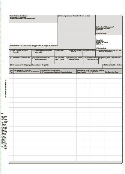 Endlos-Rechnung VDA nach DIN 4991 5fach, selbstdurchschreibend, 25 cm x 12 Zoll, VPE 500