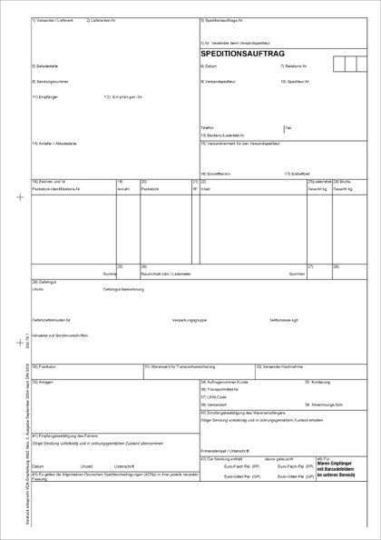 Speditionsauftrag VDA 4922 für Laser-/Tintenstrahldrucker Blatt 1-5 lose im Wechsel 80g weiß SM, 21 x 29,7 cm, VPE 50 Satz
