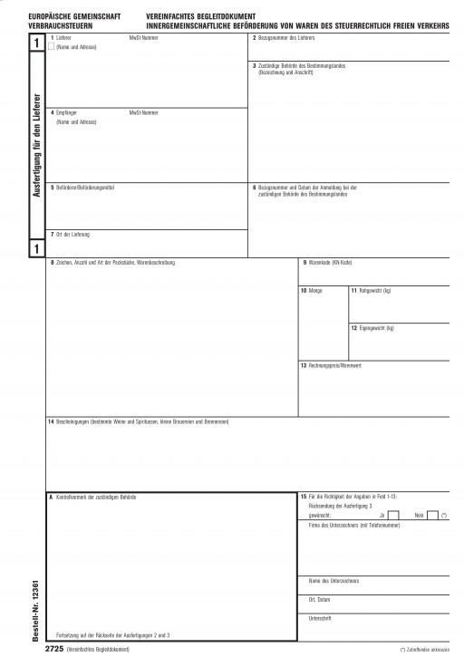 Vereinfachtes Begleitdokument Verbrauchssteuern, 3-fach, selbstdurchschreibend (2725), VPE 50 Satz