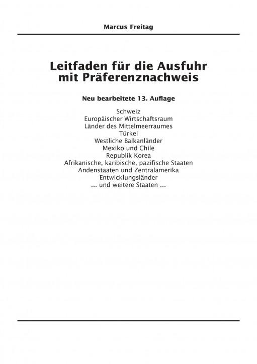 Leitfaden für die Ausfuhr mit Präferenznachweis Neu bearbeitete 13. Auflage