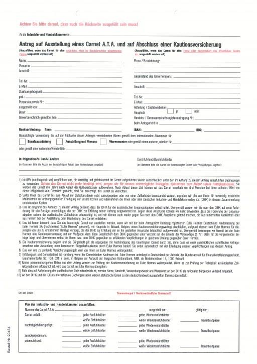 Antrag auf Ausstellung eines Carnet A.T.A. und auf Abschluß einer Kautionsversicherung 2-fach mit Anhang (Laserdrucktauglich), VPE 50 Satz