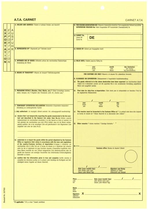 Carnet A.T.A. Zusatzblatt Exportation (gelb) 1-fach, VPE 100 Stück