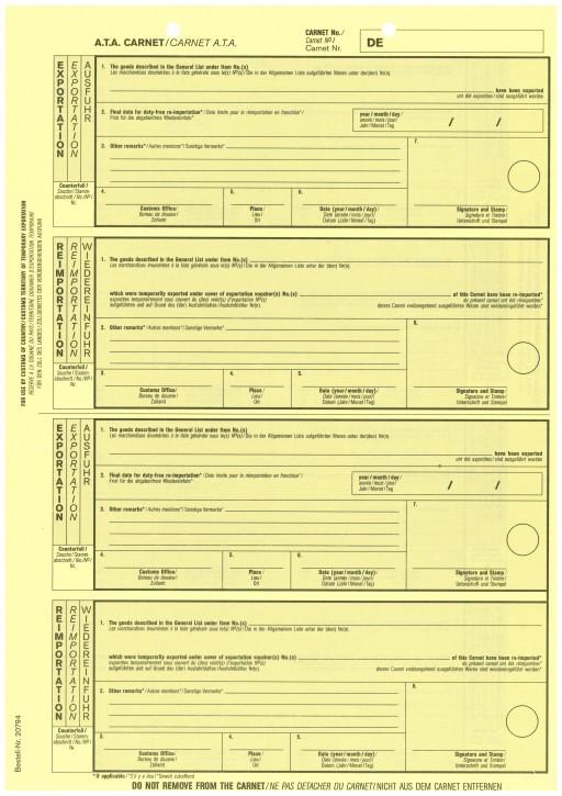 Carnet A.T.A. Zusatzblatt Exportation/Reimportation 1-fach, VPE 100 Stück
