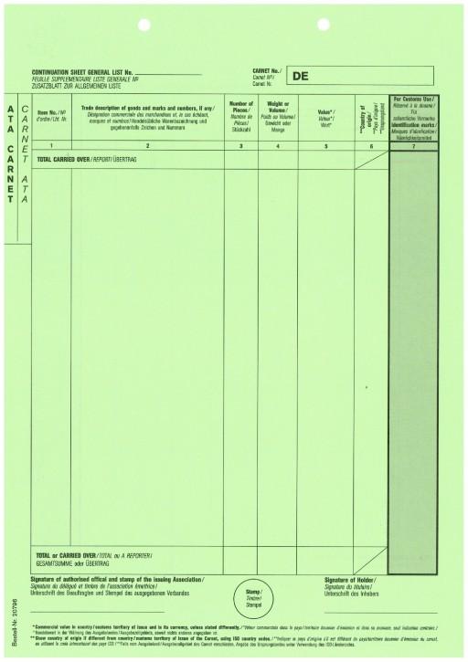 Carnet A.T.A. Zusatzblatt (grün) ohne Perforation 1-fach, VPE 100 Stück