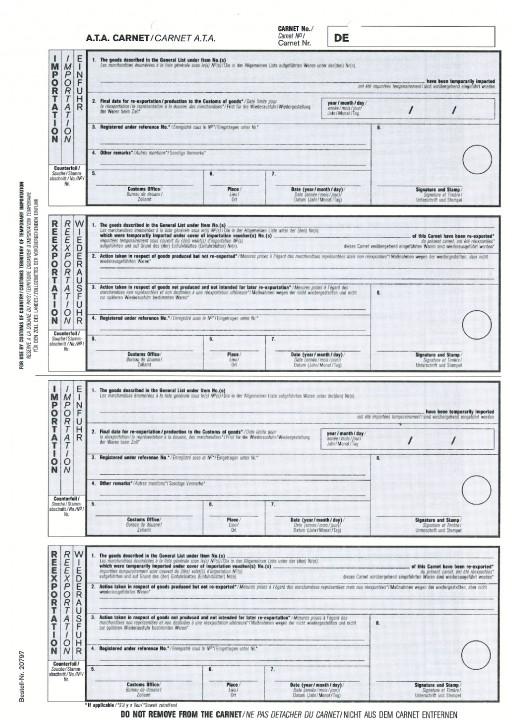 Carnet A.T.A. Zusatzblatt Importation/Reexportation 1-fach, VPE 100 Stück