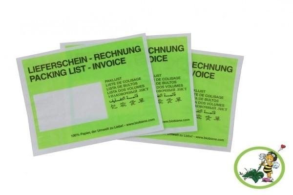 Lieferscheintaschen C6 Grün aus Papier, VPE 250 Stück