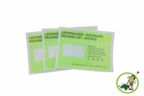 Lieferscheintaschen C5 Grün aus Papier, VPE 500 unterverpackt zu 250 Stück