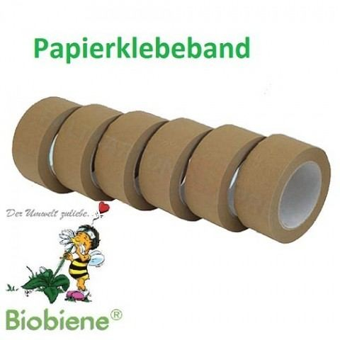 Papier-Packband Klebeband 50mm x 50m Braun 6 Rl./Pack.