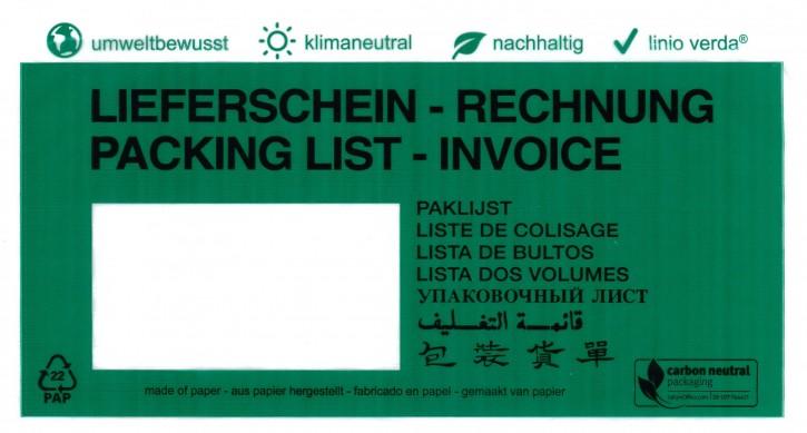 """Dokumententaschen DIN Lang linio verda® mit Druck """"Lieferschein/Rechnung"""", in 8 Sprachen, klimaneutral aus Pergamin, mit Anklebeverschluß, Innenmaß: ca. 228x120mm, VPE 1.000 Stück"""