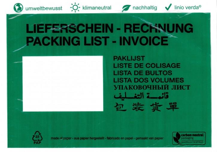 """Dokumententaschen C5 linio verda® mit Druck """"Lieferschein/Rechnung"""", in 8 Sprachen, klimaneutral aus Pergamin, mit Anklebeverschluß, Innenmaß: ca.228x165mm, VPE 1.000 Stück"""