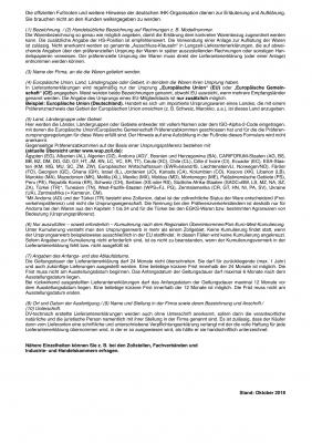 Lieferantenerklärung, Langzeiterklärung für Waren mit Präferenzursprungseigenschaft  - Stand Oktober 2018, VPE 100 Stück